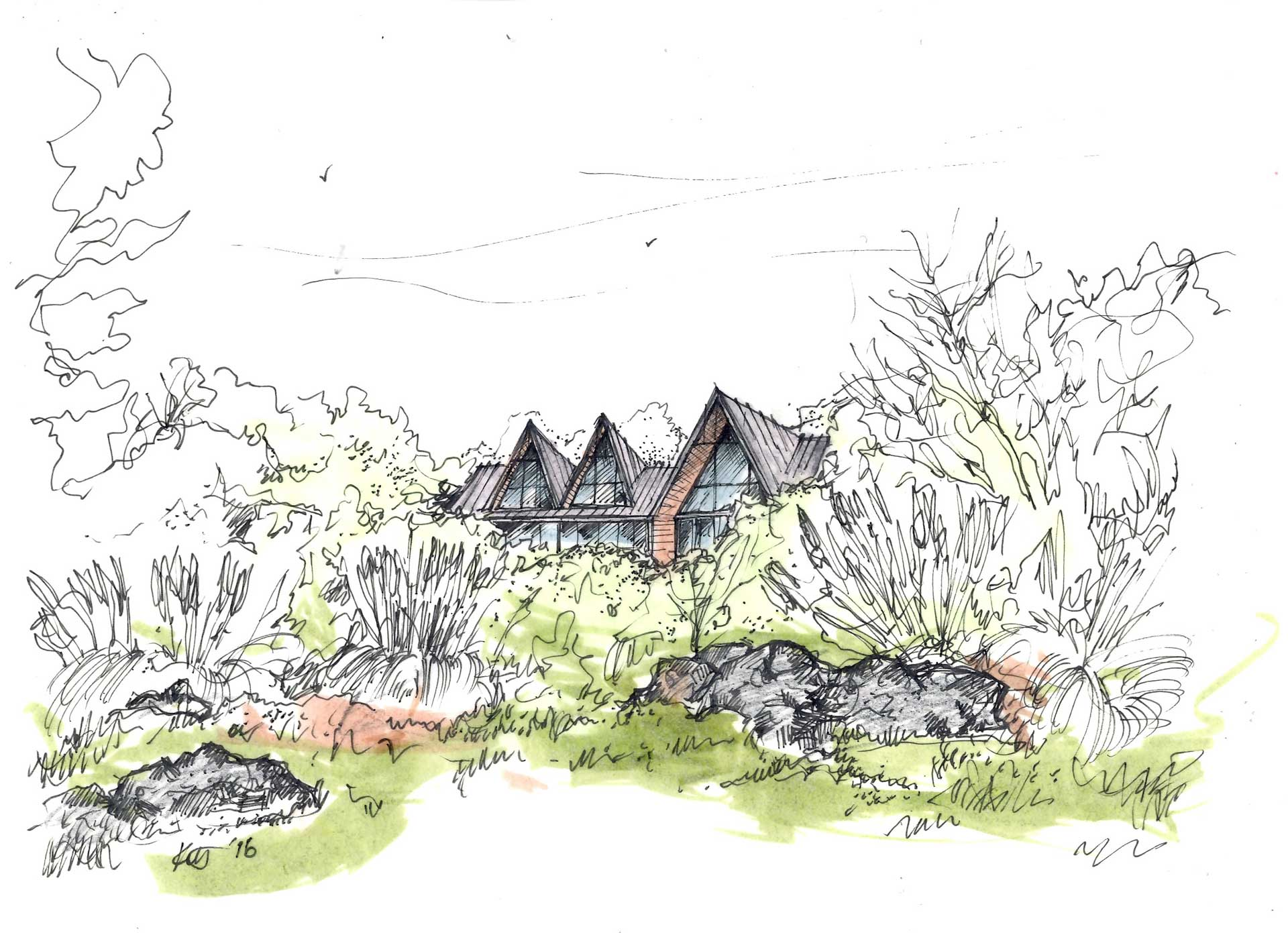 Siol Architects Tiburon Bluff Sketch and Watercolor
